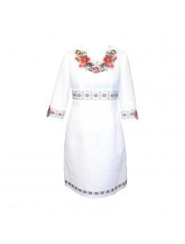 Платье вышитое женское, ручной работы. Домотканое полотно с лавсаном