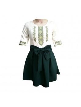 Платье вышитое женское с поясом, машинная крестиком. Габардин