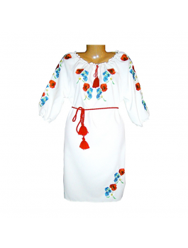 Женское платье, машинная вышивка, гладь. Габардин или домотканое полотно