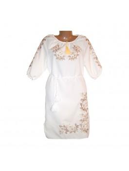 Женское платье, машинная гладь. Габардин или домотканое полотно белое
