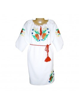 Платье вышитое женское, машинная гладь, Габардин
