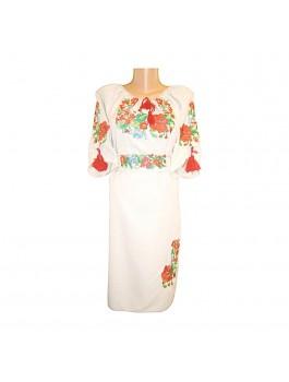 Платье вышитое женское, машинная гладь. Лён или габардин