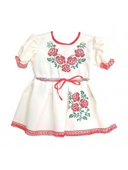 Детское вышитое платье, машинная вышивка гладью + кружева. Габардин