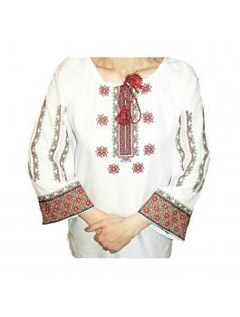 Женская блузка вышитая, машинная вышивка крестиком. Домотканое полотно или лён