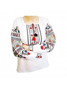 Вышиванка борщивская женская, машинная вышивка, крестиком. Домотканое полотно