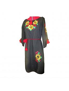 Платье вышитое женское черное, машинная гладь. Лён или габардин