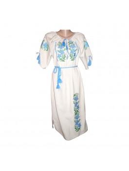 Платье вышитое, машинная крестиком. Лён, габардин или домотканое полотно