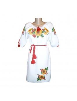 Платье вышитое женское, машинная крестиком. Лён или габардин