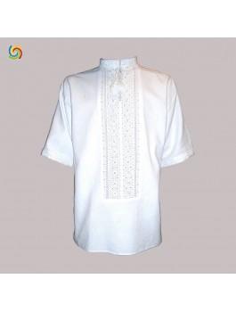 Вышиванка мужская ручной работы белым по белому. Лён или домотканое полотно