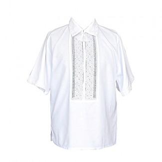 Вышиванка мужская ручной работы, белым по белому. Домотканое полотно или лён