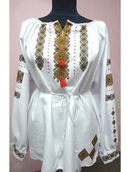 Вишиванка жіноча, машинна вишивка, хрестиком. Домоткане полотно, габардин, поплін або льон