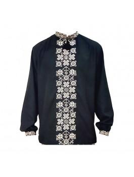 Вышиванка мужская черная, машинная вышивка крестиком. Лён или домотканое полотно