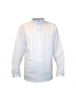 Вышиванка мужская ручной работы, белым по белому. Лён или домотканое полотно
