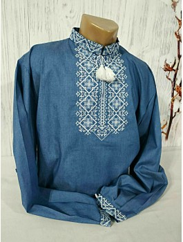 Вишиванка чоловіча синя, машинна вишивка, хрестиком. Домоткане полотно або джинс-льон