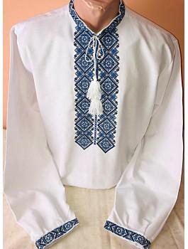 Вишиванка чоловіча біла, машинна вишивка, хрестиком. Льон або домоткане полотно