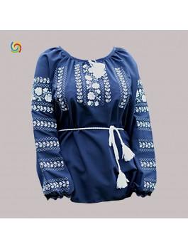 Вишиванка жіноча темно-синя, машинна вишивка, хрестиком. Шифон, габардин або льон