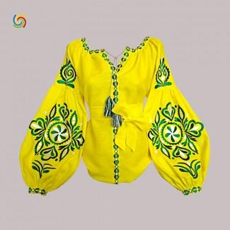 Вышиванка женская желтая, машинная вышивка крестиком. Домотканое полотно, лён или габардин
