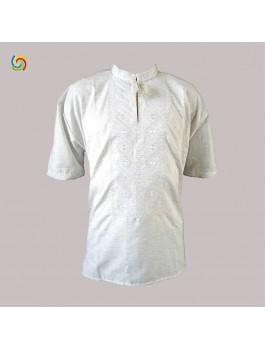 Вишиванка чоловіча, машинна вишивка, гладдю, білим по білому. Льон або домоткане полотно