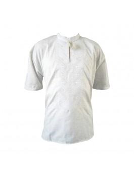 Вышиванка мужская, машинная вышивка, белым по белому. Домотканое полотно или лён