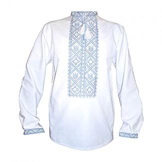 Вышиванка мужская с тризубом, машинная вышивка, крестиком. Домотканое полотно или лён
