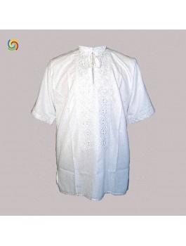 Вишиванка чоловіча, білим по білому, машинна вишивка, гладдю. Домоткане полотно або льон