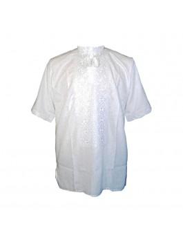 Вышиванка мужская, машинная вышивка, белым по белому. Домотканое полотно или лен