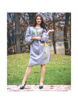 Сукня вишита, машинна вишивка хрестиком. Габардин, домоткане полотно або льон