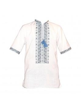 Вышиванка мужская, машинная вышивка, крестиком. Домотканое полотно или лен