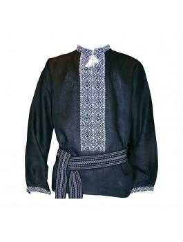 Вышиванка мужская ручной работы чёрная. Чёрный лён или чёрное домотканое полотно