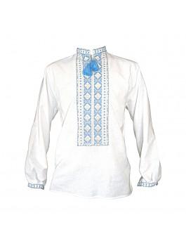 Вышиванка мужская c тризубом, машинная вышивка, крестиком. Домотканое полотно или лен