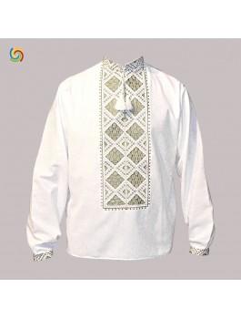 Вишиванка чоловіча біла, машинна вишивка, гладдю. Домоткане полотно, габардин або льон
