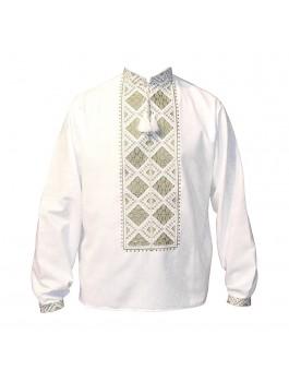 Вышиванка мужская, машинная вышивка. Домотканое полотно, лён или габардин
