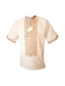 Вышиванка мужская, машинная вышивка, крестиком. Домотканое полотно или лён