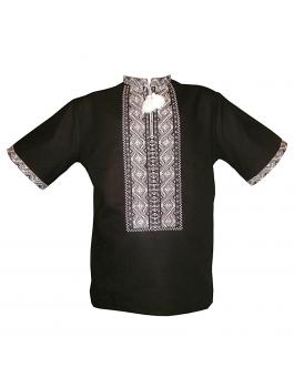 Вышиванка мужская черная, машинная вышивка, крестиком. Лён