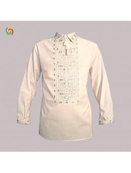 Вишиванка чоловіча, машинна вишивка, хрестиком і гладдю. Домоткане полотно або льон
