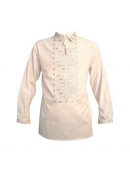 Вышиванка мужская, машинная вышивка, крестиком + гладь. Домотканое полотно или лён