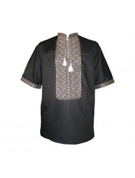 Вышиванка мужская чёрная, машинная вышивка. Лён или поплин