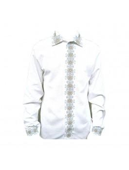Вышиванка мужская, машинная вышивка крестиком. Домотканое полотно, габардин или лён