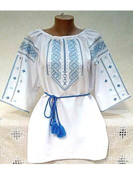Вишиванка жіноча біла, машинна вишивка, гладдю. Домоткане полотно або льон
