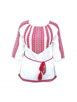 Вышиванка женская, тканая вышивка + кружева. Домотканое полотно или лён