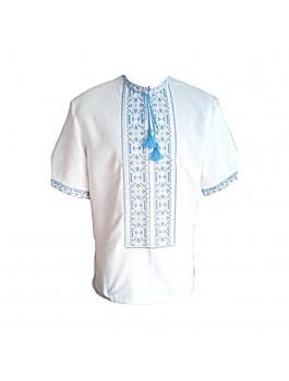 Вышиванка мужская, машинная вышивка крестиком. Лён, габардин или домотканое полотно