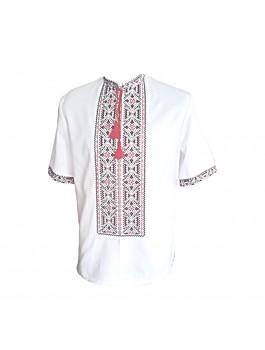 Вышиванка мужская, машинная вышивка крестиком. Домотканое полотно, лён или габардин