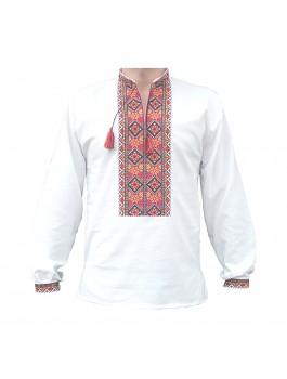 Вышиванка мужская машинная вышивка, крестиком. Домотканое полотно или лён