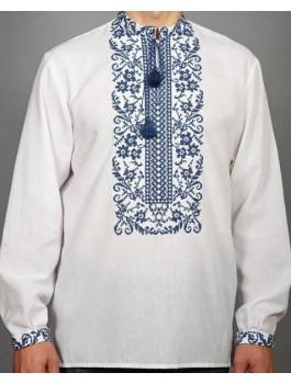 Вишиванка чоловіча біла або сіра, машинна вишивка, гладдю. Домоткане полотно або льон