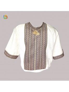 Вышиванка мужская, тканая вышивка. Лён или домотканое полотно