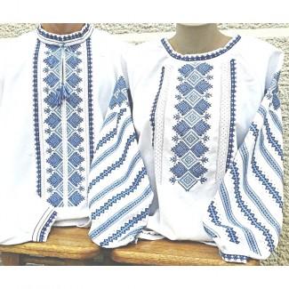 Вышиванка парная, женская и мужская, машинная вышивка, крестиком. Домотканое полотно