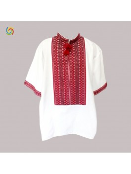 Вышиванка мужская, тканая вышивка. Домотканое полотно или лён