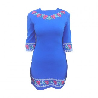 Платье вышитое, машинная вышивка крестиком. Габардин или домотканое полотно