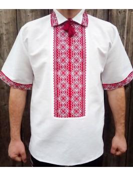 Вишиванка чоловіча біла, ручна робота, хрестиком. Домоткане полотно або льон