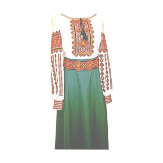 Вышитый женский костюм - вышитая блузка + вышитая юбка. Машинная вышивка крестиком. Домотканое полотно